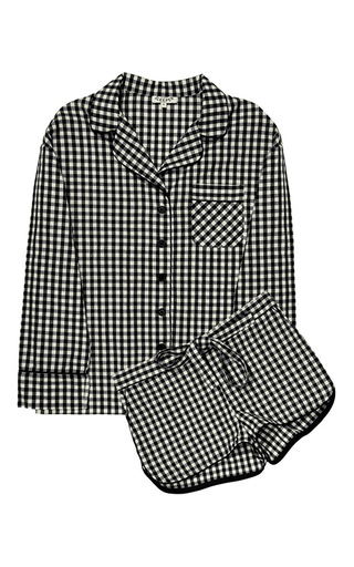 Medium sleeper multi black gingham pajama set with shorts