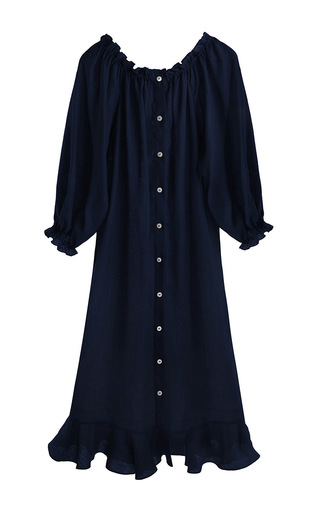 Medium sleeper navy ruffle lounge dress 2