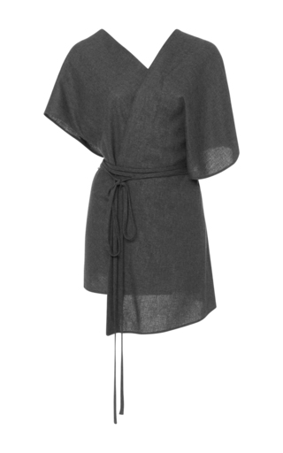 Medium hensely dark grey belted wrap top