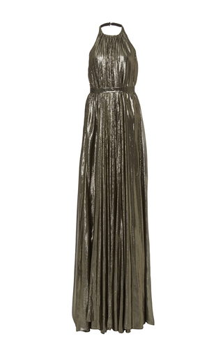 Medium hensely metallic trapeze halter gown