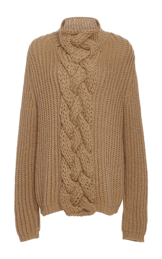 Medium hensely tan cableknit turtleneck sweater