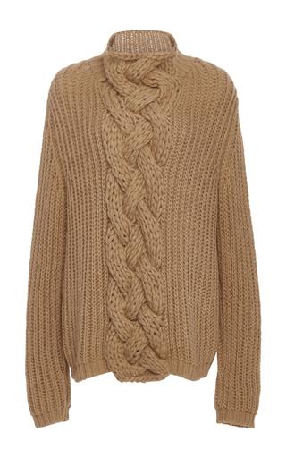 Medium hensely tan cableknit turtleneck sweater