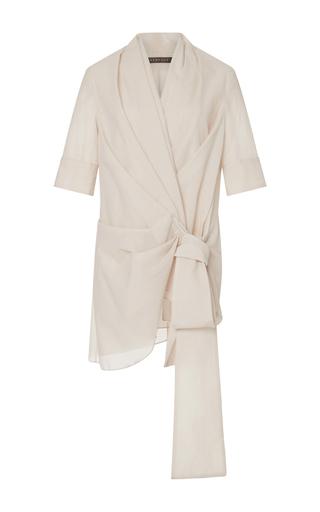 Medium hensely neutral short sleeve wrap top