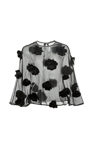 Medium jill stuart black barbara floral applique top