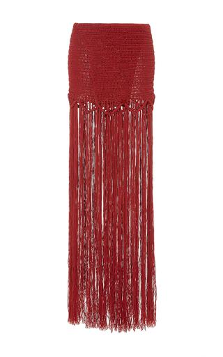 Medium jaline red daniela fringed skirt
