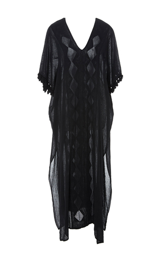 Medium jaline black paloma v neck caftan dress