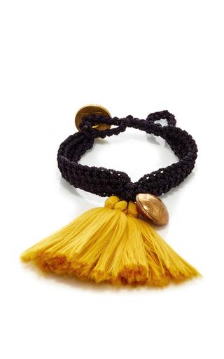 Medium daniela bustos gold gold fringe and black crochet bracelet 1