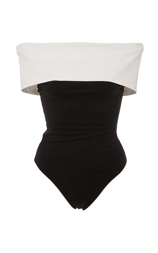 Medium rosetta getty black white black off the shoulder colorblocked swimsuit