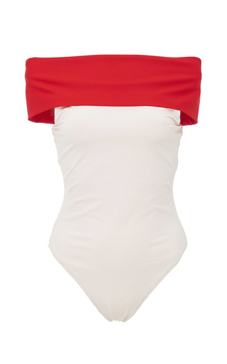 Medium rosetta getty white red off the shoulder colorblocked swimsuit