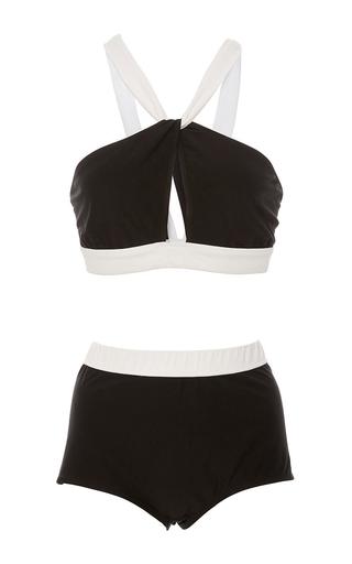 Medium rosetta getty black white twist front halter bikini
