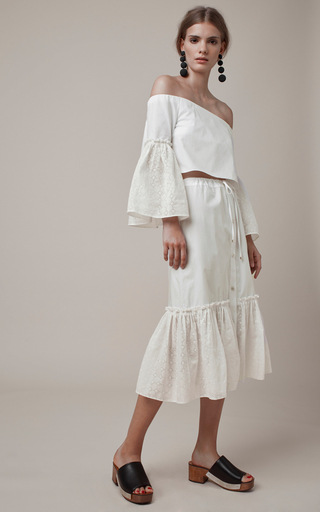 Off The Shoulder Eyelet Blouse by ROSETTA GETTY Now Available on Moda Operandi