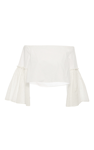 Medium rosetta getty white off the shoulder eyelet blouse