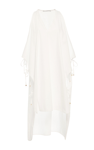 Medium rosetta getty white cropped front cotton caftan