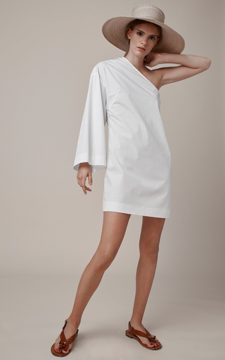 One Sleeve Cotton Mini Dress by ROSETTA GETTY Now Available on Moda Operandi