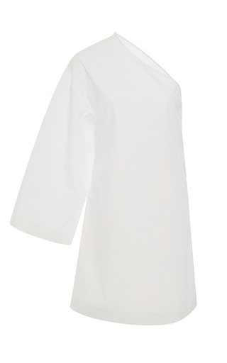 Medium rosetta getty white one sleeve cotton mini dress