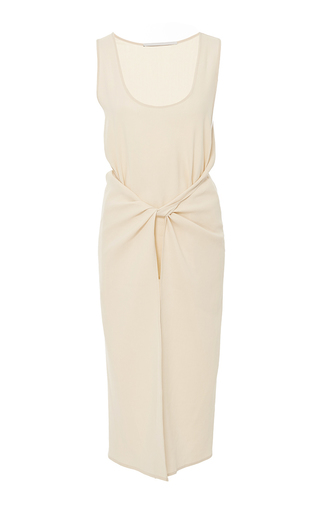 Medium rosetta getty tan apron stretch canvas draped top