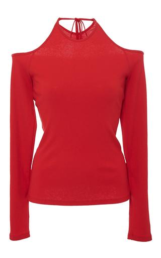 Medium rosetta getty red cold shoulder cotton jersey top