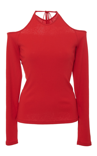 Medium rosetta getty red cold shoulder cotton jersey top