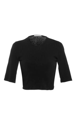 Medium rosetta getty black cropped crew neck cotton jersey top
