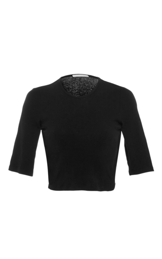 Medium rosetta getty black cropped crew neck cotton jersey top