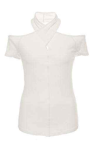 Medium rosetta getty white wrap neck off the shoulder t shirt
