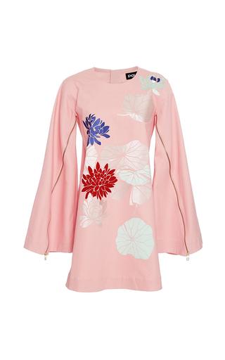Medium polite pink floral applique cape dress