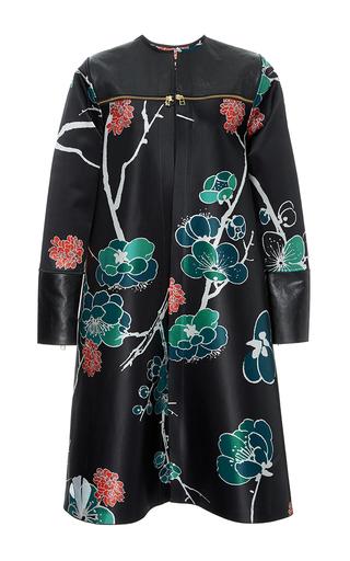 Medium polite floral silk satin and leather collarless coat