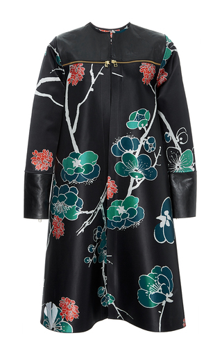 Medium polite floral silk satin and leather collarless coat