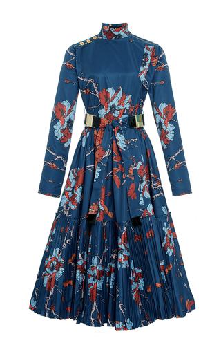 Medium polite floral mock neck a line pleated dress