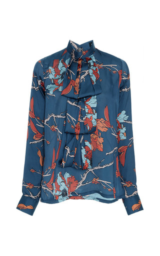 Medium polite floral draped bib blouse