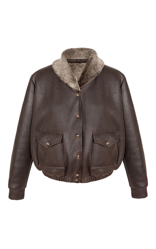 Medium marina hoermanseder brown reeve leather bomber jacket