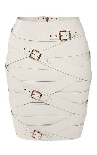 Medium marina hoermanseder off white banded strap buckled skirt