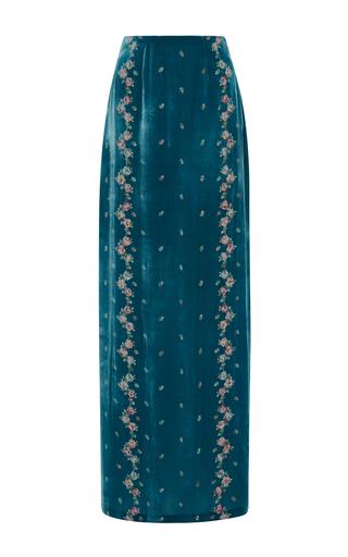 Medium luisa beccaria blue embroidered velvet skirt