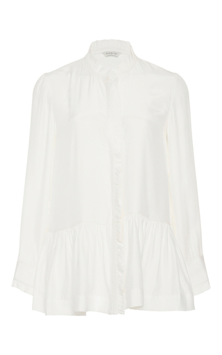 Medium piamita white violet peplum blouse