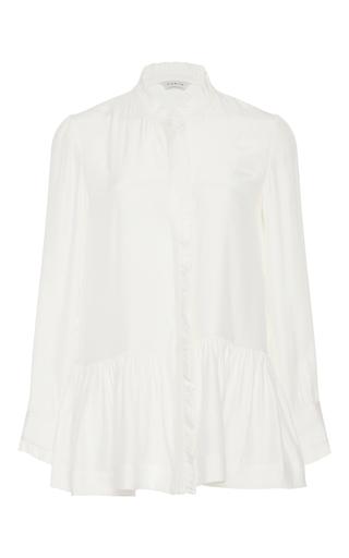 Medium piamita white violet peplum blouse