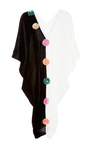 Medium tata naka black two tone flower caftan dress