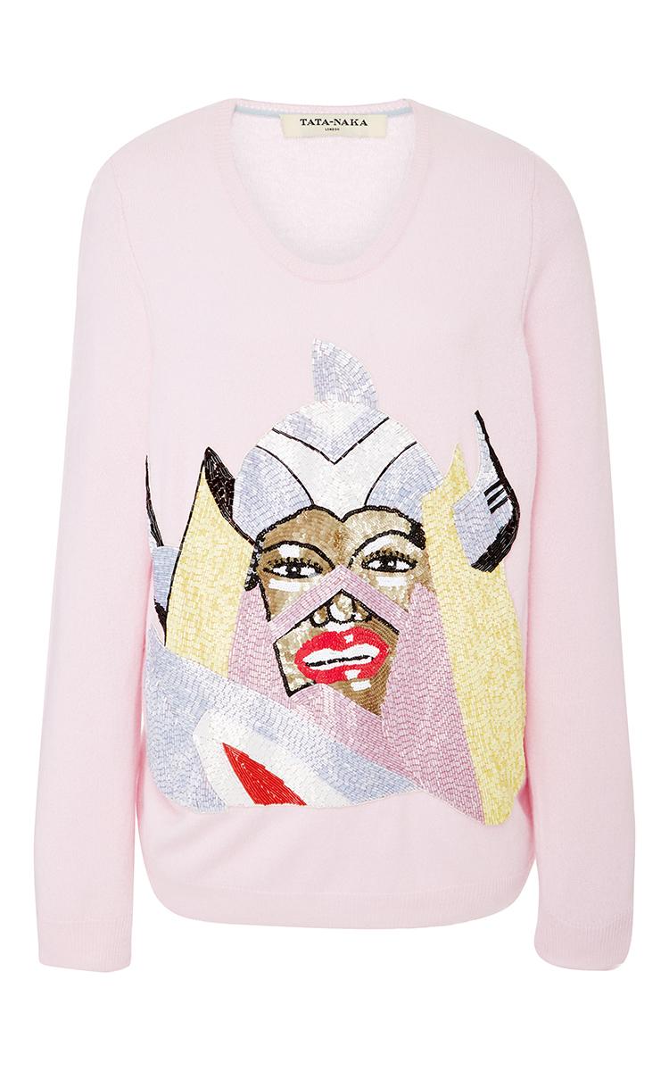 65035c11de41 Embellished Graphic Cashmere Sweater by Tata Naka | Moda Operandi