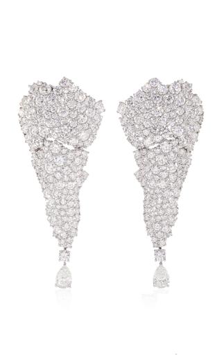 Medium vanleles white 18k white gold legends of africa all diamonds earring