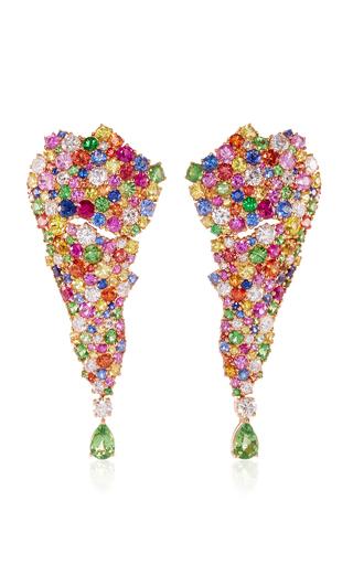Medium vanleles multi 18k rose gold legends of africa multicolored earrings