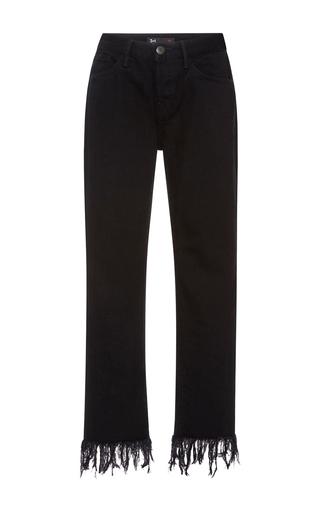 Medium 3x1 black fringe cropped jeans