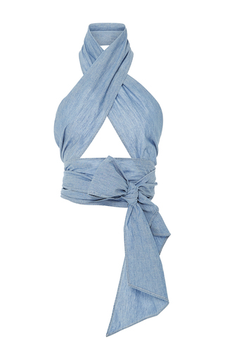 Medium mds stripes light blue everything chambray scarf