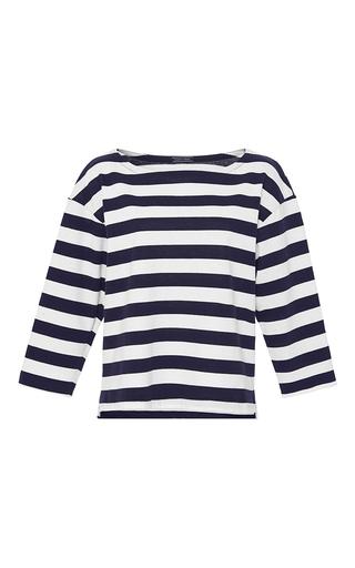 Medium mds stripes blue aerin boat neck top