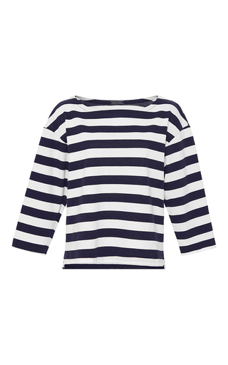 Medium mds stripes blue aerin boat neck top