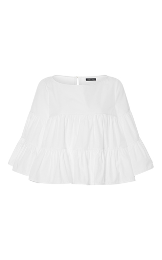 Medium mds stripes white white tiered peasant top