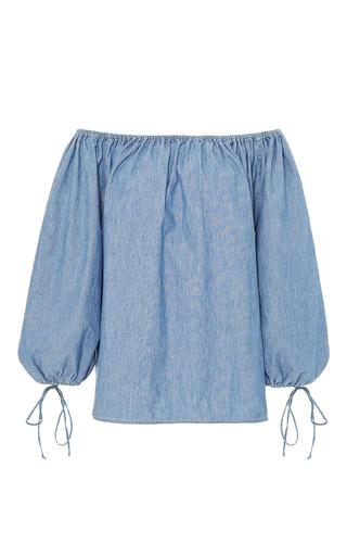 Medium mds stripes light blue bell sleeve peasant blouse