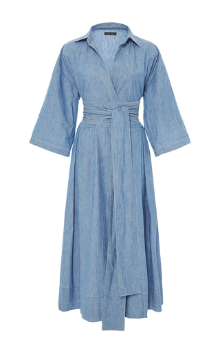 Medium mds stripes light blue chambray wrap dress