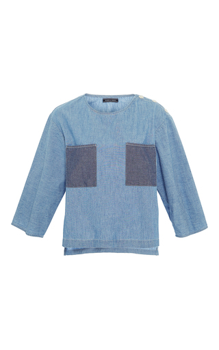 Medium mds stripes light blue patch pocket tunic top