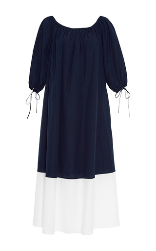Medium mds stripes navy smocked maxi dress