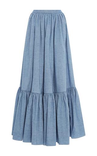 Medium mds stripes light blue ruffle bottom skirt