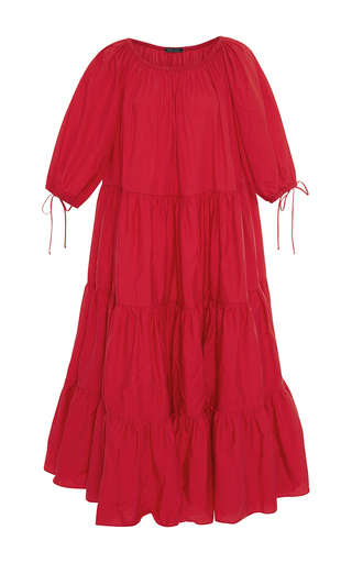 Medium mds stripes red tiered red peasant dress